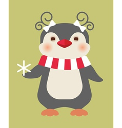 christmas penguin card vector image