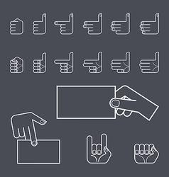 Hand gesture icon set vector