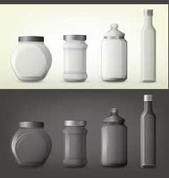 Jar or glass bottles for spice or seasoning vector