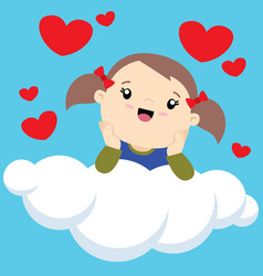 little girl with two ponytails on a cloud thinking vector image