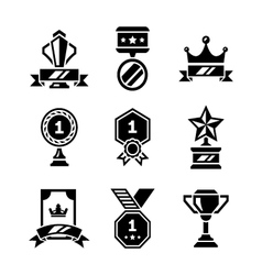 Set icons of awards and trophy vector image