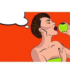 Sexy pop art woman with an apple vector image vector image
