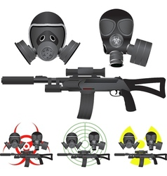 sniper rifle and gas masks vector image