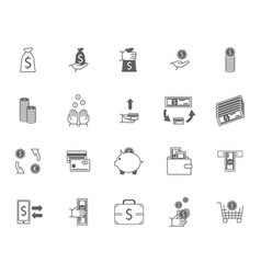symbol of money finance currency black icons set vector image vector image