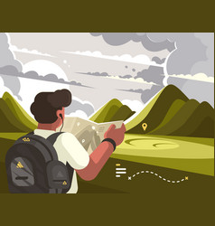 traveler with map planning route to mountains vector image vector image