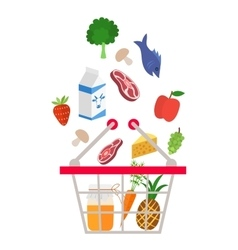 Food and drink products falling down into basket vector image