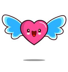 heart cartoon character icon kawaii with wings vector image vector image