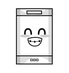 line kawaii cute tender smartphone technology vector image