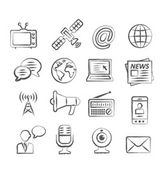media doodle icons vector image vector image