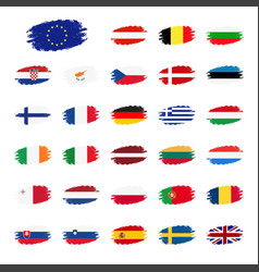 set of flags of the european union countries flag vector image