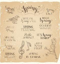 set of hand-written spring brush lettering on old vector image