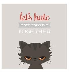 Angry cat cartoon Cute grumpy cat Grumpy vector image vector image