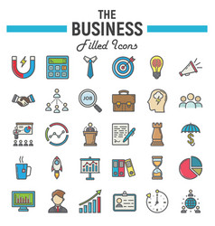 business colorful line icon set finance signs vector image