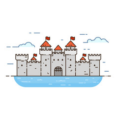 castle color line icon vector image
