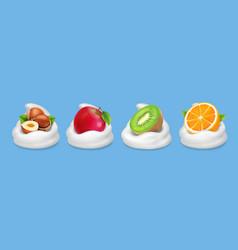fruit nuts in yogurt hazelnuts kiwifruit apple vector image