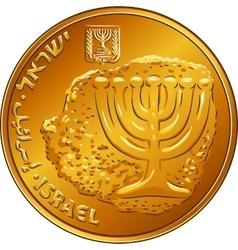 Gold Israeli money ten agorot coin vector image vector image