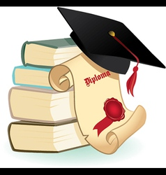 Isolated Mortar Boards books and Diploma vector image