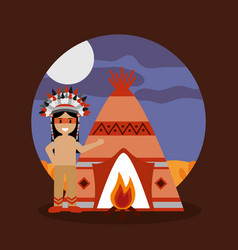 native american indian teepee bonfire and night vector image