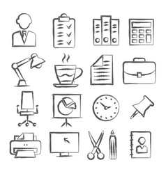 office doodle icons vector image vector image