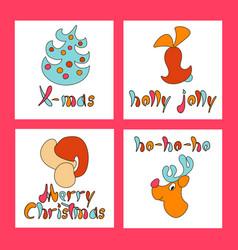 set of christmas greeting cards new year xmas vector image vector image