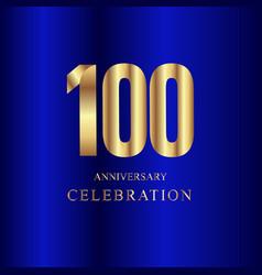 100 year anniversary celebration gold blue vector