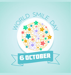 6 october world smile day vector