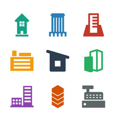 9 buildings icons vector