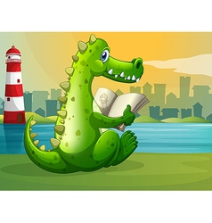 A crocodile reading across the lighthouse vector