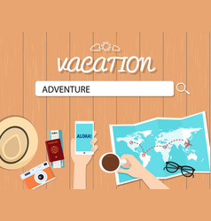 adventure search graphic for vacation vector image