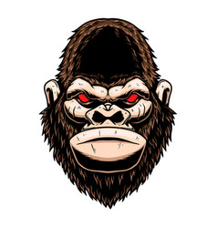 Angry gorilla head design element for logo label vector