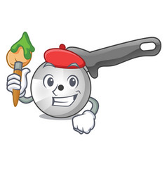 artist pizza cutter knife cartoon for cutting vector image