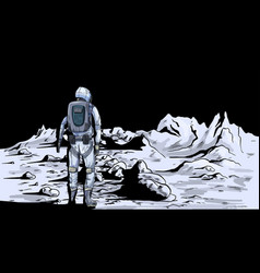 Astronaut on moon back view full color vector