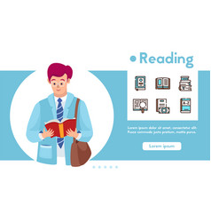 banner reading book and linear icons set vector image