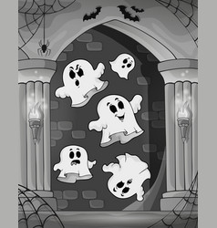 Black and white alcove and ghosts 2 vector