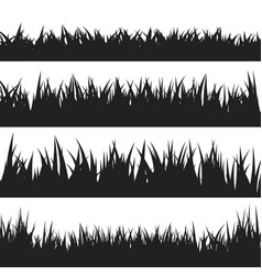 black grass silhouettes set isolated on white vector image