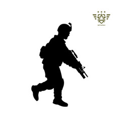 Black silhouette of running american soldier vector