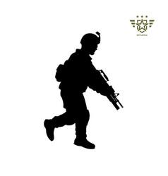Black silhouette running american soldier vector