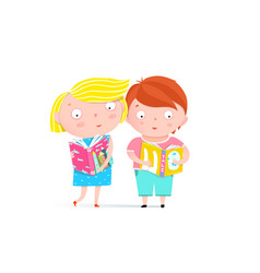 boy and girl reading book clip art vector image