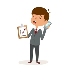 Boy businessman holding blank phone cartoon vector image