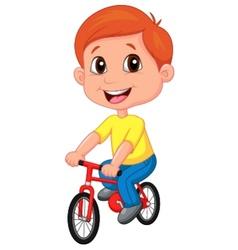 Boy cartoon riding bicycle vector