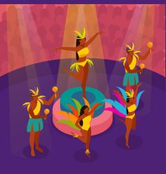 brazilian carnival dancing isometric vector image