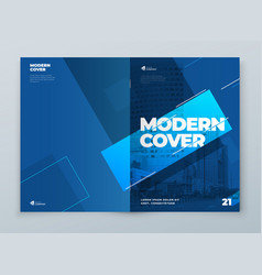 brochure template layout design blue corporate vector image