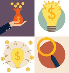 Business concept Light bulb and Saving money bag vector