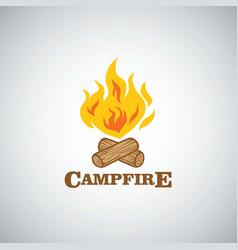 Campfire mountain adventure logo vector