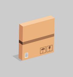 Cardboard box with packing stickers on a gray vector