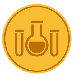 Chemistry gold coin vector