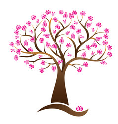 Cherry lotus blossom tree logo image vector