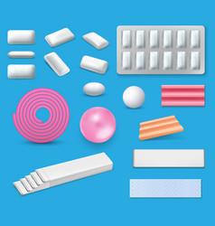 Chewing bubble gum and bubblegum realistic mockups vector