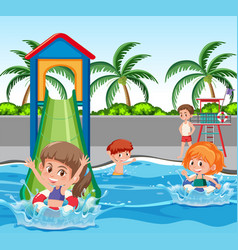children at water park vector image