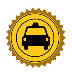 color circular seal of taxi car vector image